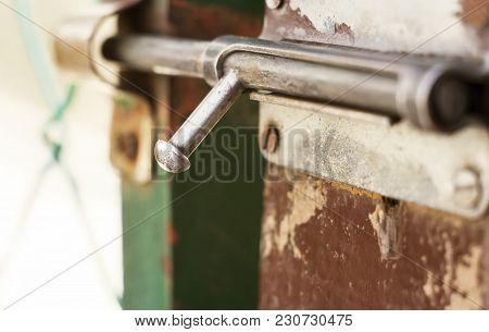 Security, Concept - Wooden Gate Door Locker Close-up