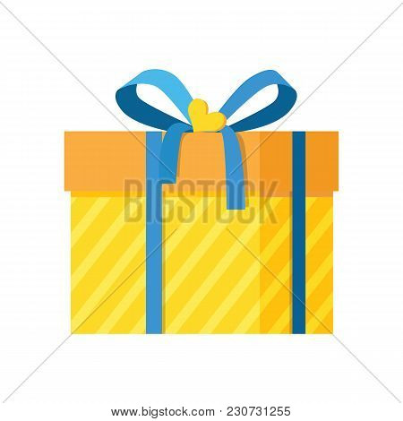 Parcel Package Icon In Decorative Yellow Wrapping Paper With Stripes Decorated By Bue Bow With Ribbo