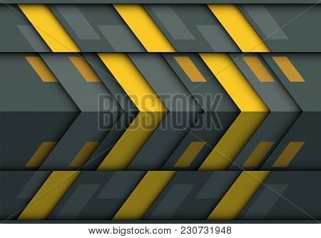 Abstract Yellow Gray Arrow 3d Pattern Design Modern Futuristic Technology Background Texture Vector