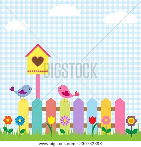 Background With Birds And Birdhouse. Vector Illustration