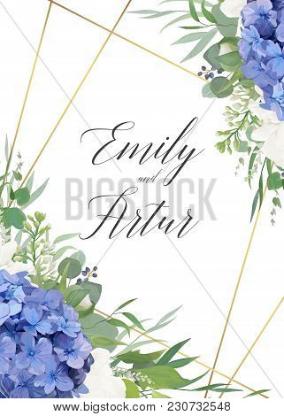 Wedding Floral Invite, Save The Date Card Design With Elegant Blue Violet Hydrangea Flowers, White G