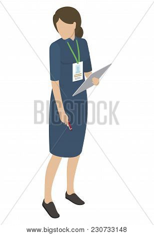 Female In Blue Midi Dress Holds Gray Tablet In One Hand, Other Arm Keeps Red Pen, Looking Sideways.