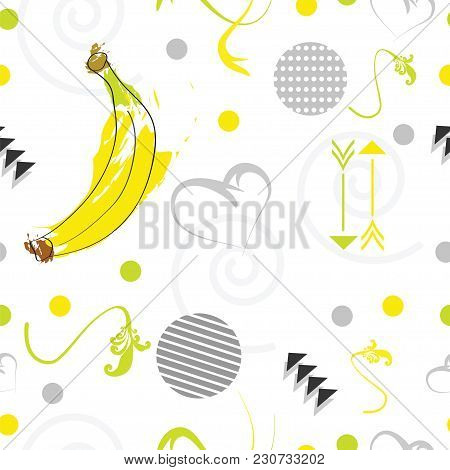 Seamless Tileable Pattern With Banana Fruit In Yellow And Grey Colors