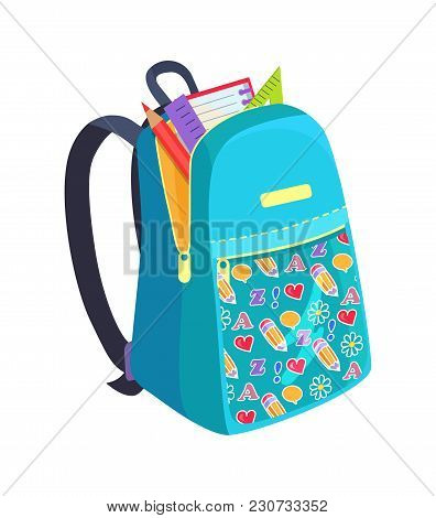 Open School Bag With Stationary Elements Pencil, Paper Notebook, Triangular Ruler Vector Illustratio