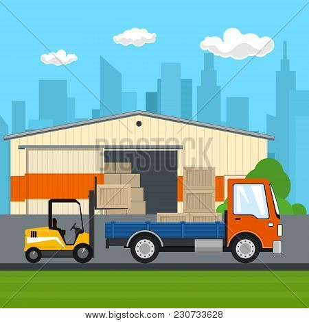 Warehouse On The Background Of The City, Transport Services , Forklift Loads Or Unloads Boxes From A