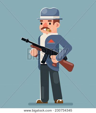 Criminal Gangster Submachine Thug Gun Character Icon Flat Design Vector Illustration