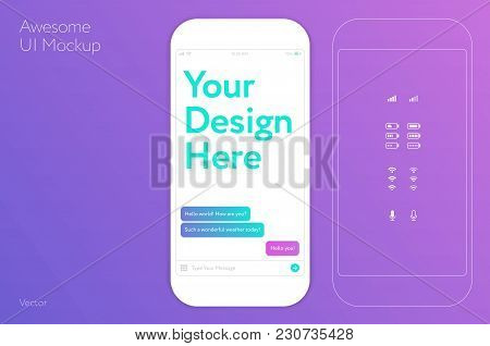 Awesome Ui Design White Mobile Phone Vector Template / Mockup For Mobile App Design / Flat Style App