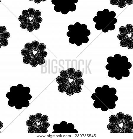 Seamless Pattern. Simple Flower Element. Doodle Decoration. Easy To Change Color. White Background.