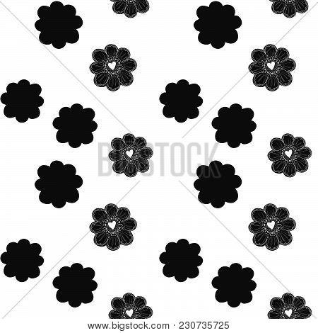 Seamless Pattern. Simple Flower Element. Doodle Decoration. Easy To Change Color. Geometric Arrangem