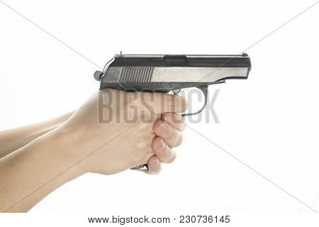 Isolated On White Background Gun In Hands