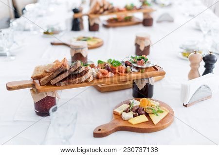 Delicious Food. Different Meals For The Guests On The Table In Restaurant. Healthy Mediterranean Cui