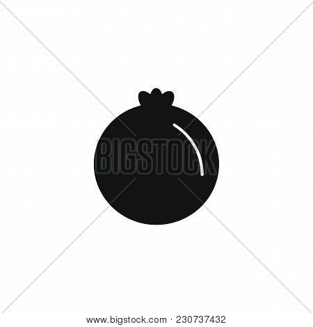 Pomegranate Icon In Black Silhouette Style. Vector Illustration With Pomegranate Isolated On White B