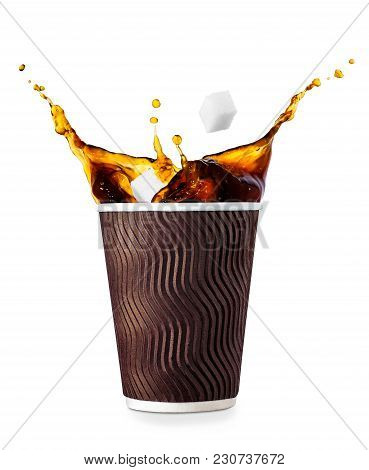 Disposable Corrugated Paper Cup Isolated On White Background. Coffee Splash. Take Away Cup Of Splash