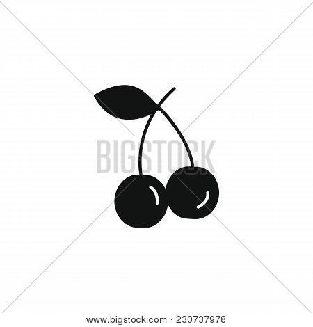 Cherry Icon In Black Silhouette Style. Vector Illustration With Cherry Isolated On White Background.