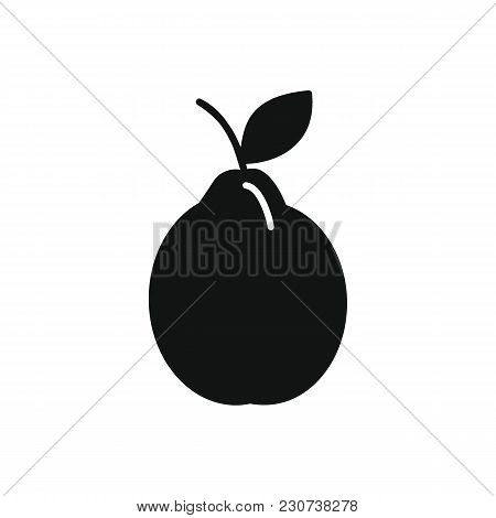 Pear Icon In Black Silhouette Style. Vector Illustration With Pear Isolated On White Background. Bla