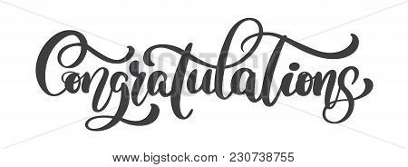 Hand Written Congratulations Calligraphy Text, Vector Lettering. Calligraphic Banner.