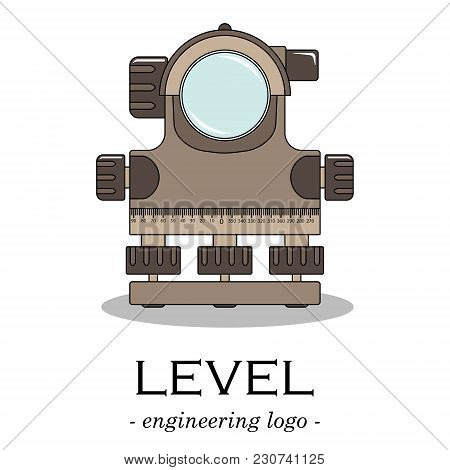 Vector Color Engineering Logo Of A Level. Geodesy.
