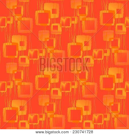 Abstract Geometric Seamless Background. Regular Intricate Squares Pattern With Wavy Lines Yellow And