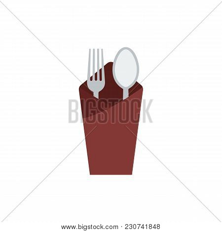 Fork With Spoon Icon Flat Symbol. Isolated Vector Illustration Of  Icon Sign Concept For Your Web Si