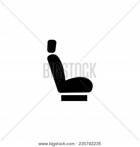 Car Seat. Flat Vector Icon. Simple Black Symbol On White Background