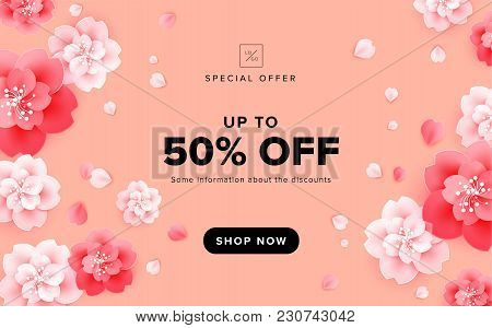 Vector Sale Background Design With Beautiful Flowers On Peach Pink Background - Poster Template, Bro
