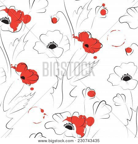 Black Poppy Pattern Silhouette With Red Spots Isolated On White, Vector Seamless Background