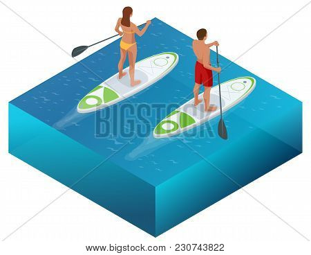 Isometric Paddleboard Beach Men And Women On Stand Up Paddle Board Surfboard Surfing In Ocean Sea. W