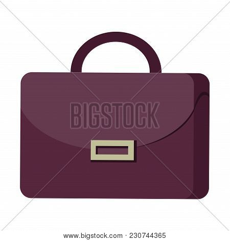 Purple Suitcase With Handle And Clasp Flat Design Graphic Image On White Background. Vector Illustra