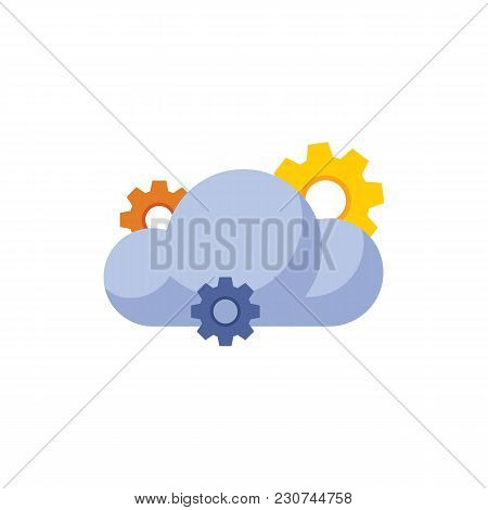 Cloud Technology Icon Flat Symbol. Isolated Vector Illustration Of Hosting Server Sign Concept For Y