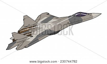 The Newest Russian Jet Fighter Aircraft. Technichal Draw. Isolated On White Background.