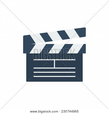 Cinema Open Clapper Icon Flat Symbol. Isolated Vector Illustration Of Clapperboard Sign Concept For