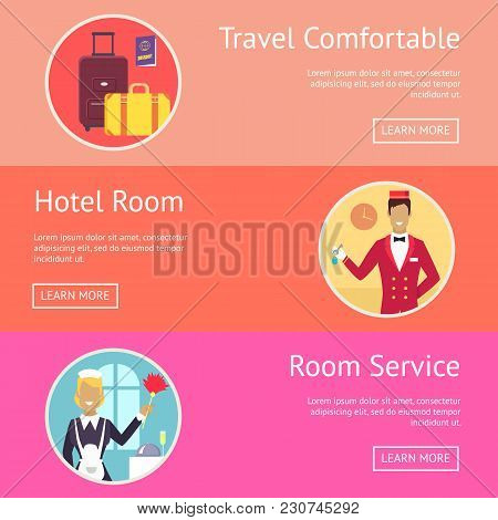 Travel Comfortable, Hotel Room And Room Service Demonstration With Icons Of Baggage And Hotel Staff.