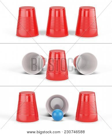 Shell Game - three red cups isolated on white. 3d rendering