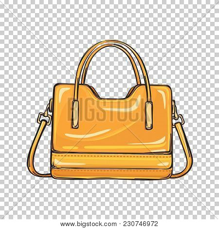 Trendy Orange Women Bag With Three Handlers Of Different Length Isolated On Transparent Background.