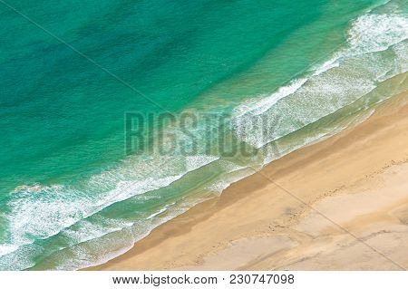 Coastline From Above. Sea Waves And Sand Beach Aerial View.