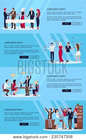 Corporate Party Set Of Three Pictures With Co-workers Celebrating Success Together In Office, With W