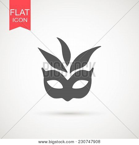 Carnival Mask Icon Black Silhouette Isolated On White Background. Mask With Feathers Pictogram. Vect