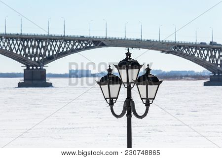 Road Bridge Across The Volga River Between The Cities Of Saratov And Engels, Russia. Embankment, Win