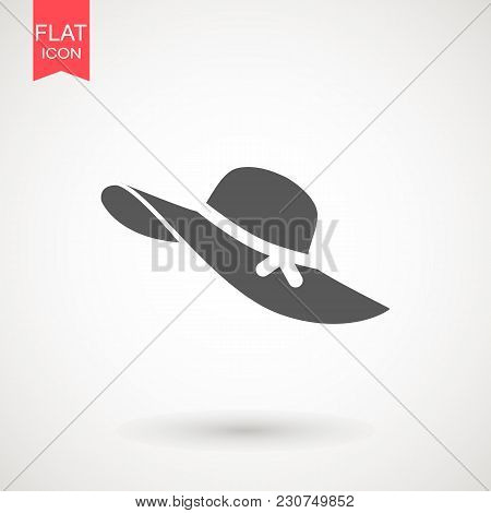 Ladies Or Women's Hat Icon , Web Icon. Fashion. Vector Illustration. Lady Or Women's Beach Hat . Ele