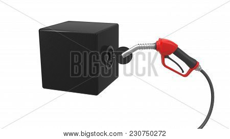 Red Fuel Nozzle Fueling Up A Box. 3d Illustration. Isolated On White