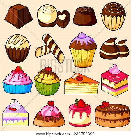 Easy To Edit Vector Illustration Of Yummy Chocolate And Cake Collection