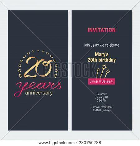 20 Years Anniversary Invitation To Celebration Vector Illustration. Graphic Design Element With Eleg