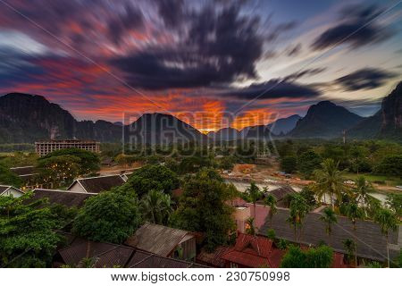 Long Exposure Landscape View Panorama At Sunset In Vang Vieng, Laos.