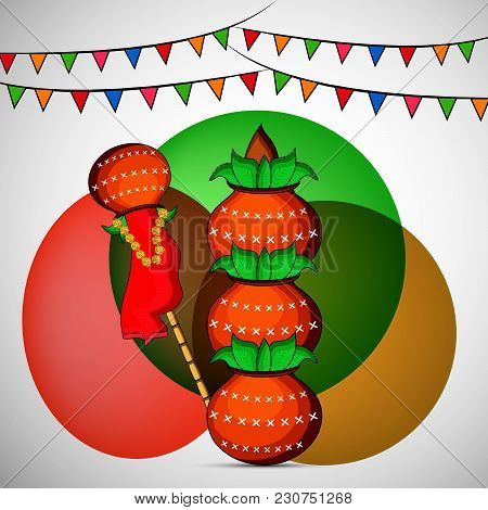Illustration Of Bamboo, Earthen Pots And Decoration On The Occasion Of Hindu Festival Gudi Padwa