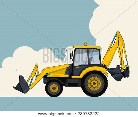 Big Yellow Excavator, Sky With Clouds In Background. Banner Layout With Earth Mover. Vintage Color S