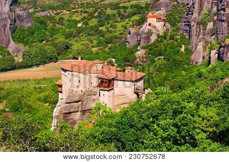 Panoramic View Of Meteora Monasteries On The High Rocks In Spring Time, Greece