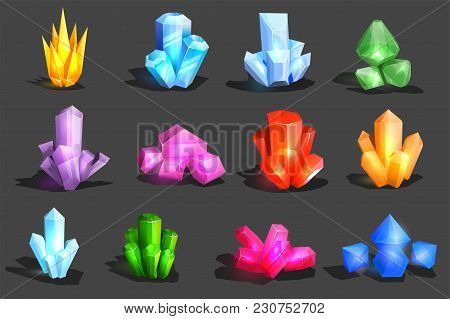 Crystal Vector Crystalline Stone Or Gem And Precious Gemstone For Jewellery Illustration Set Of Jewe