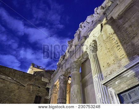 Portico D'ottavia At Night