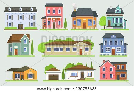 Cottage House Facede Vector City Street View Buildings Of Town House Face Side Modern World House Bu