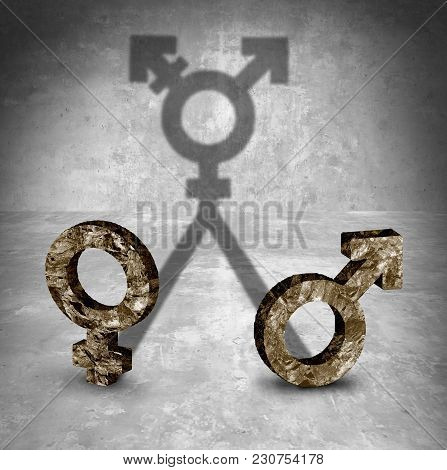 Gender Neutral And Transgender Sexuality Identity Concept As A Male And Female Symbol Casting A Shad